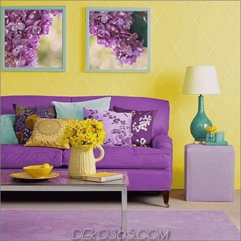 gelbes und purpurrotes Wohnzimmer e1466194568540 14 Grundlagen der Farbtheorie für das Wohndesign
