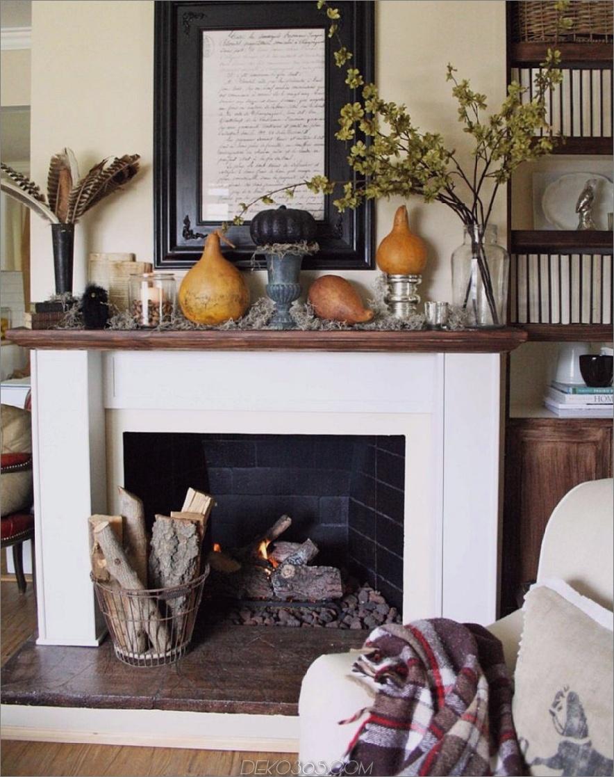 Weißer Kamin für den Herbst dekoriert 900x1138 15 Herbstdekor-Ideen für Ihren Kaminsims