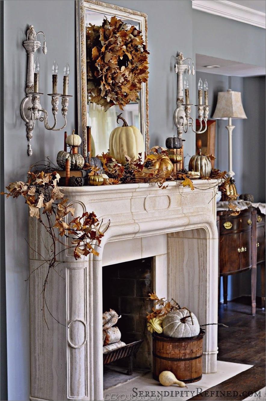 Herbstlich verzierter weißer Kamin 900x1356 15 Herbstdekor-Ideen für Ihren Kaminsims
