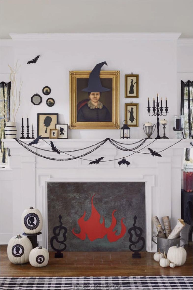 kamin dekoriert für halloween