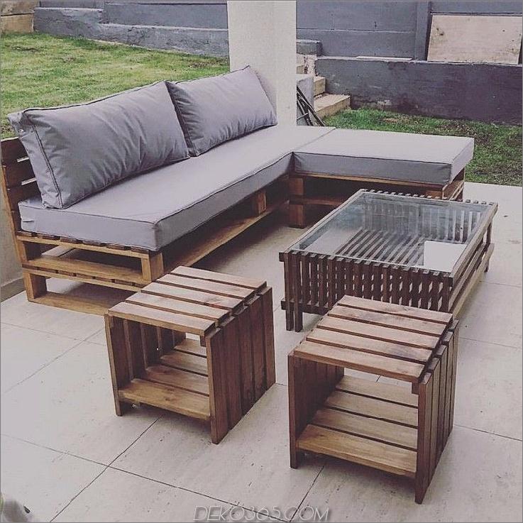 Einfache Paletten-Terrassenmöbel 15 Paletten-Terrassenmöbel, um Ihre Außendekoration zu entfalten