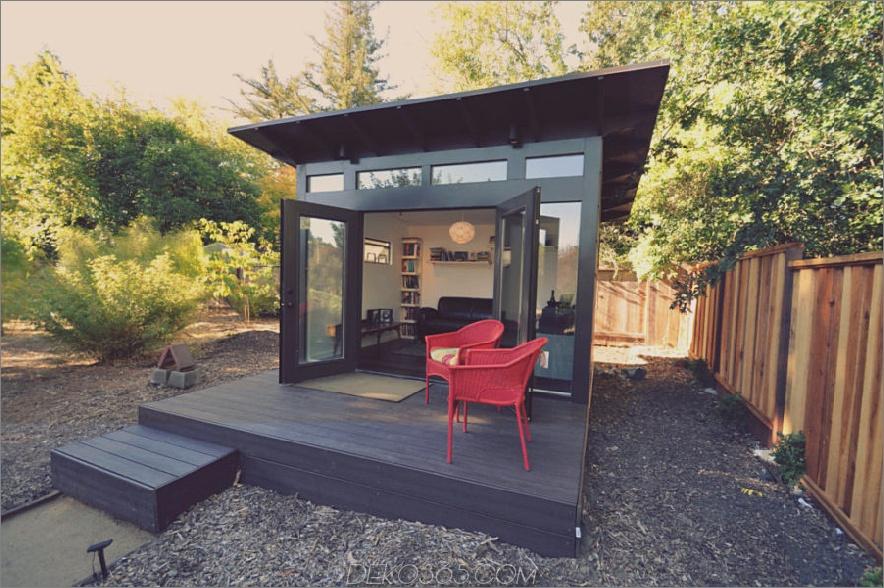 moderner schwarzer Studio-Schuppen 900x598 15 Vielseitige Studio-Schuppen-Ideen, um Ihren Garten zu verwandeln