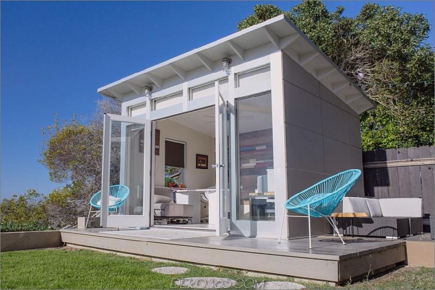 Weißer moderner Studio-Schuppen 900x600 15 Vielseitige Studio-Schuppen-Ideen, um Ihren Garten zu verwandeln