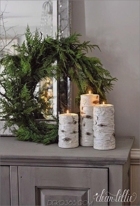 Winterdekor für das Haus grüne Kranz und Holzkerze 15 Stück Winter Style Youll Want For Your Home