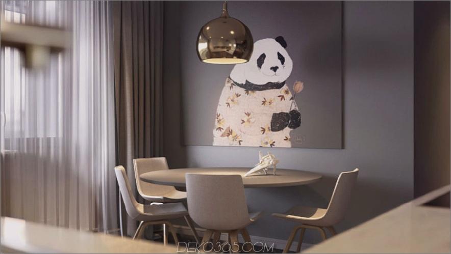 Niedliche Pandagrafik für ein stilvolles graues Esszimmer