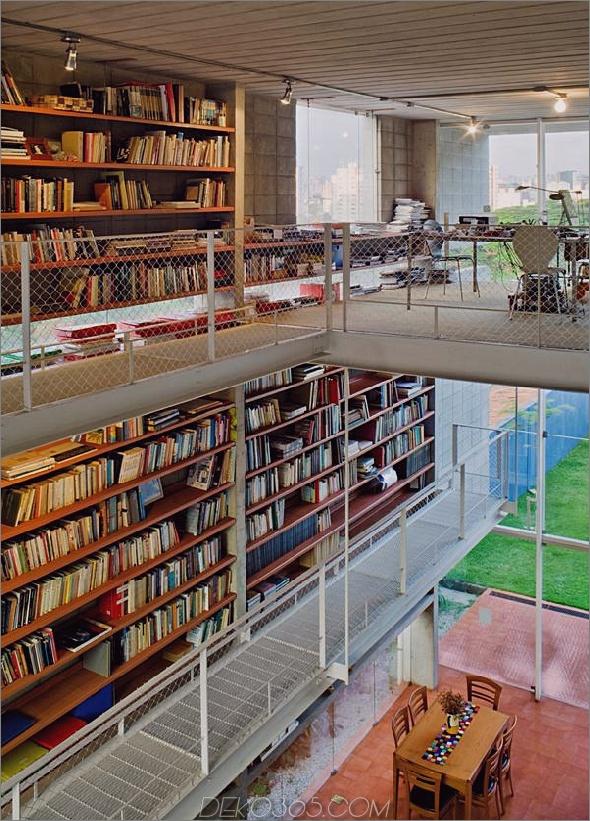 3 geschossige Wandbücher schaffen Privatsphäre Zeitgenössisches Zuhause% 20 1 Bibliothek 3 Geschossige Wand der Bücher Erstellt Privatsphäre für Zeitgenössisches Zuhause