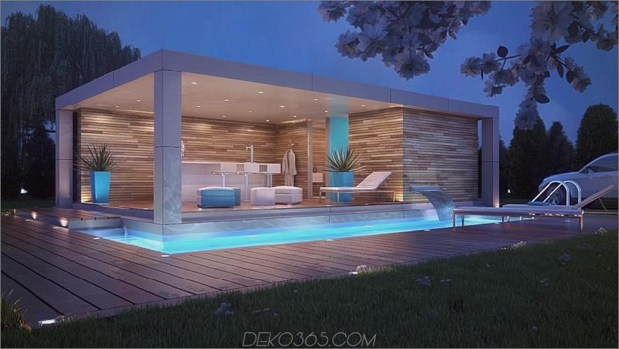 Luxuxpool mit LED-Lichtern auf Nacht