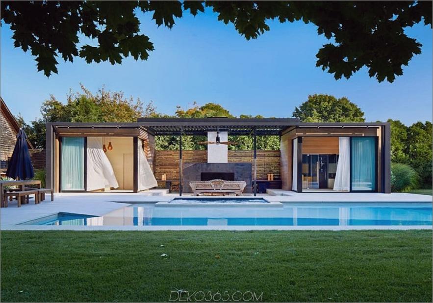 Ein modernes Poolhaus in Amagansett, NY, entworfen von iCrave und Pho