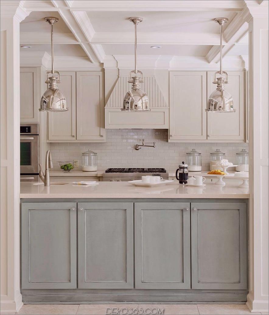Küchenmöbel-große-zweifarbige-Küche-Möbel-Dekore-mit-grau-Küchenschränke-mit-Weiß-Marmor-Top-sowie-Chrom-Trichter-Küche-Decken-Lampe-in Zeitgenössische-Küchen-Designs-ruhig-grau-k-