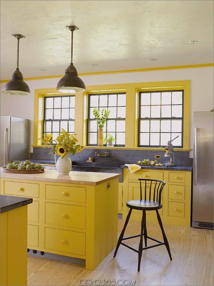 Gelbe Bauernhausküche Design