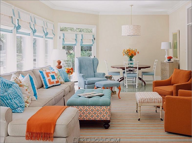 Gebrannter Orange und Türkis Akzent färbt Raum