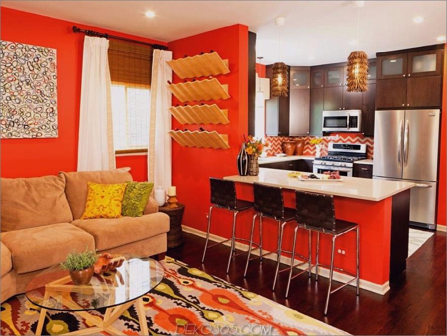 orangeroter und beiger Raum