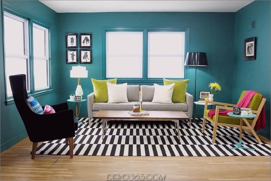 Grüne Knickente und Schwarzweiss-Wohnzimmer