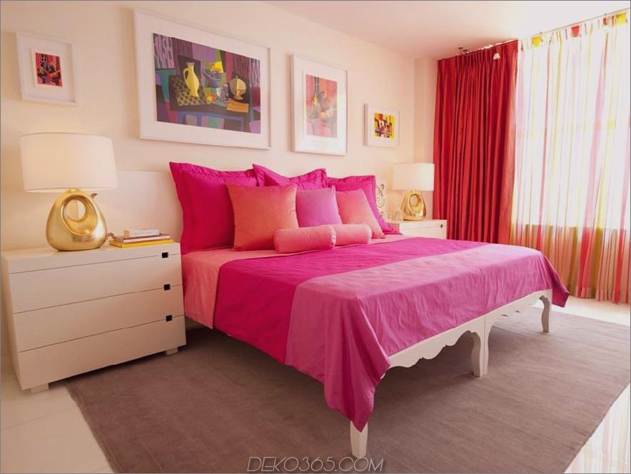 orange, pink und creme zimmer
