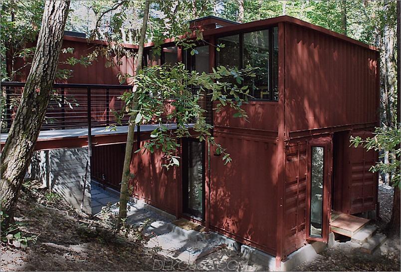 Sechs Eichencontainer-Wohnsitz