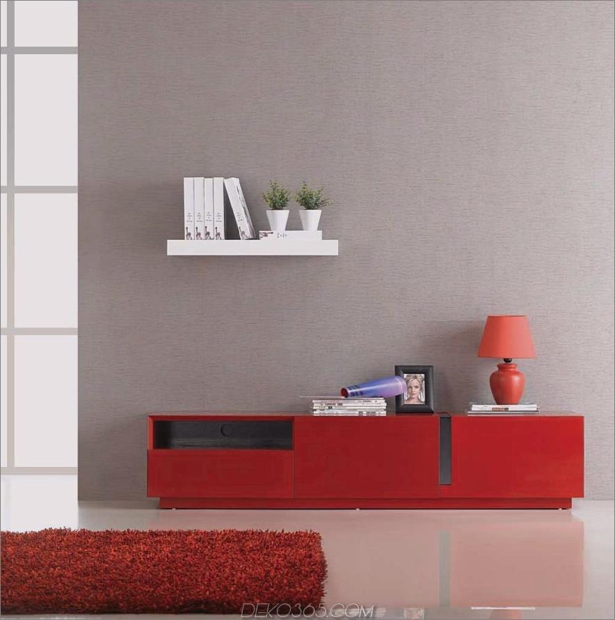 J & M Furniture TV027 Roter Hochglanz-TV-Ständer