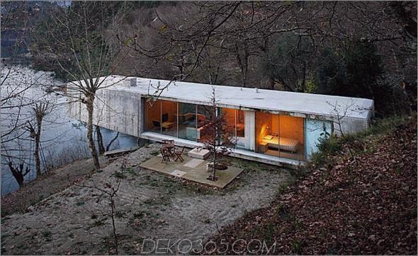 Portugiesische Hausarchitektur Betonblick auf den Fluss 2 Riverfront Architecture - Zeitgenössisches Betonhaus mit Blick auf den Fluss
