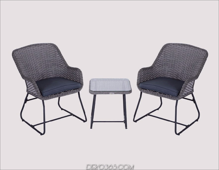 Outsunny 3-Piece Outdoor Rattan Wicker Bistro Ess-Set