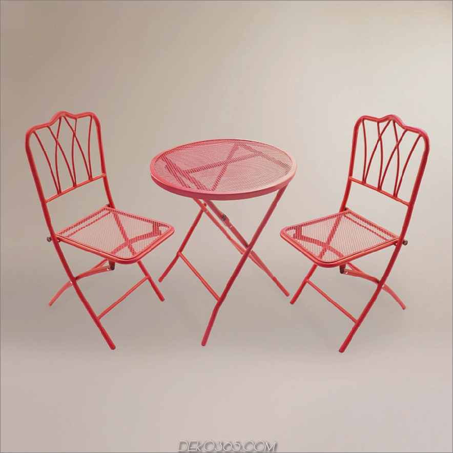 Rotes 3-teiliges Outdoor-Bistro-Set aus Metall