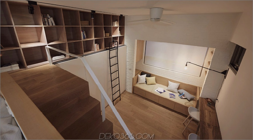 Blick von oben auf ein 22 m² großes Apartment-Layout 900x497 Brilliant Tiny Apartment in Taiwan von A Little Design