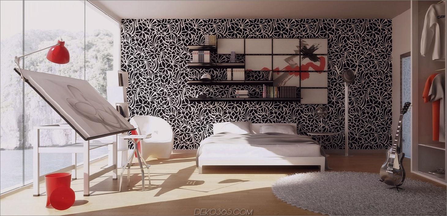 Schwarzweiss-Muster Chic Schwarzweiss-Schlafzimmer, die alle das Rave sind