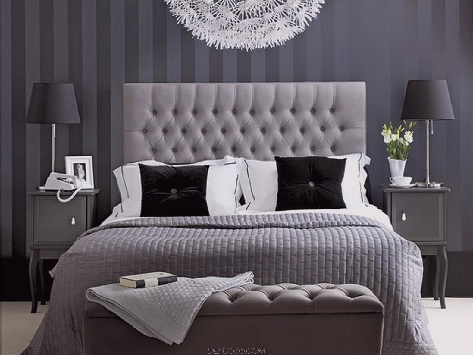 Schwarz und Weiß mit grauen Hinweisen Schicke Schwarzweiß-Schlafzimmer, die alle begeistern