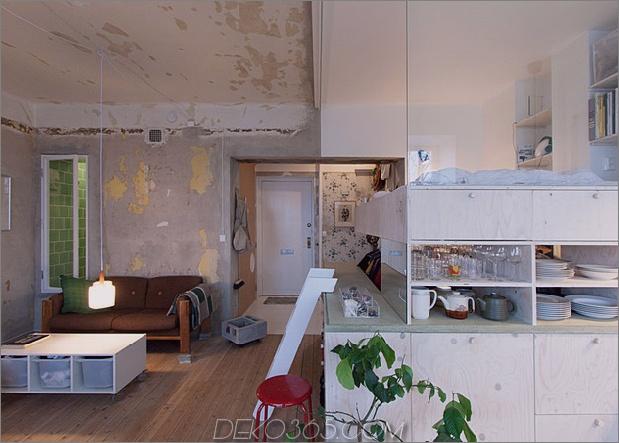 clever entworfene kleine Wohnung Jahrzehnte Patina Renovierung 2 entry thumb 630xauto 43225 Clever renovierte kleine Wohnung hält unfertige Putzwände