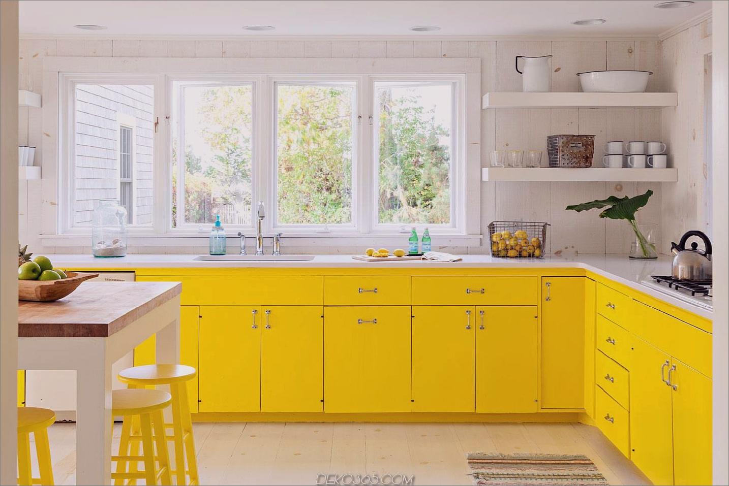 Pops der gelben Küche Coole Küchentrends, die 2018 im Sturm einnehmen