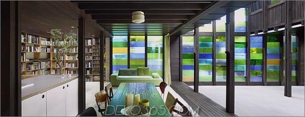 Farbige Glaswände glitzern von Cottage zusätzlich 1 Esszimmer Bibliothek thumb 630x242 29639 Cottage mit farbigen Glaswänden und vorhandenen Bäumen