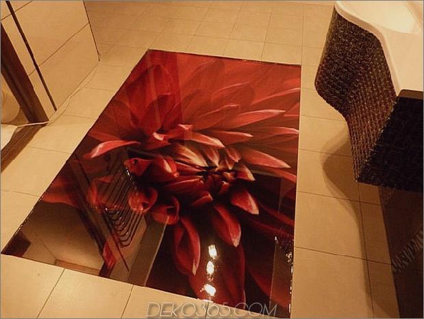 Rote Blume 3D Dekor 3d Dekor für Fußböden 630xauto 62110 Mit roten Akzenten dekorieren: 35 Möglichkeiten, den Look zu rocken