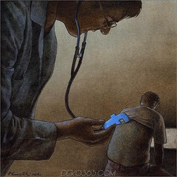 pawel facebook doctor thumb autox631 66829 Der Karikaturist Pawel Kuczynski nimmt Facebook mit seiner Art des Nachdenkens an