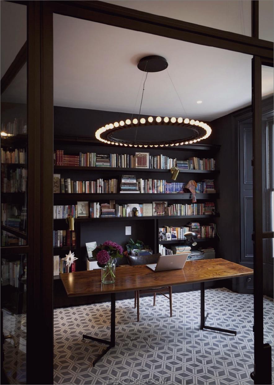 Cooles, stilvolles Heimbüro mit einer Bibliothek 900x1265 Die angesagtesten Heimbüros für coole Telearbeiter