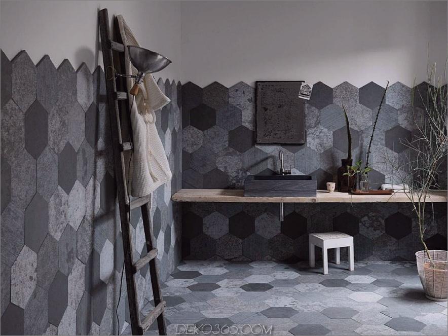 Azul Origami-Fliesen von Artesia 900x674 Diese modernen Badezimmerfliesen-Designs inspirieren die widerstrebendsten Remodelers