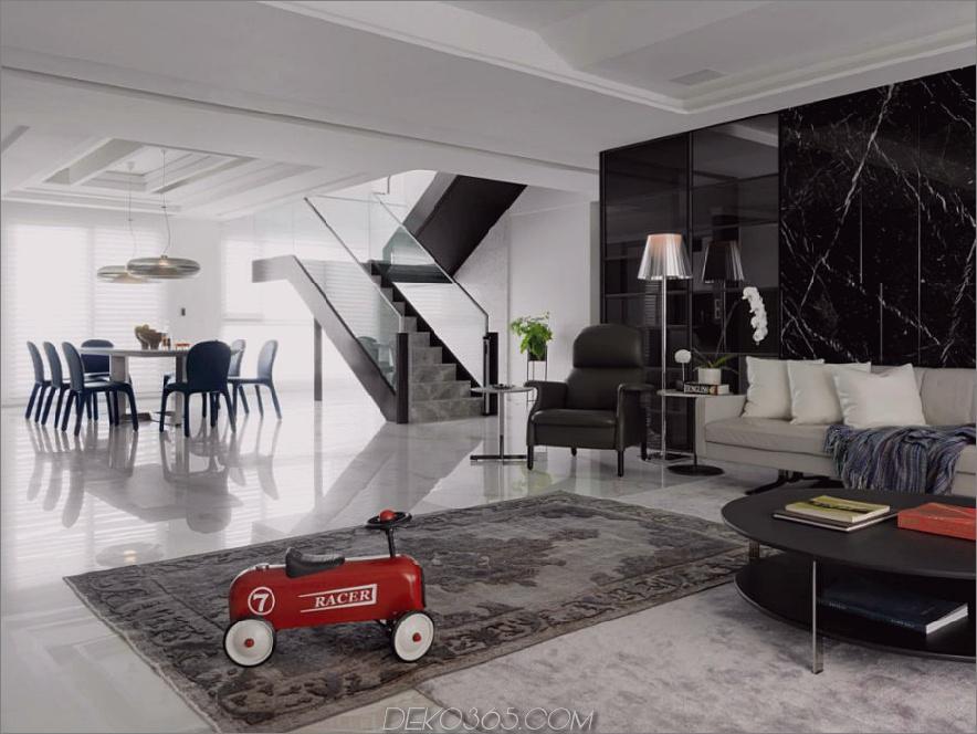 Essbereich neben der Treppe sieht eher futuristisch aus 900x675 Dieses taiwanesische Apartment ist luxuriös modern