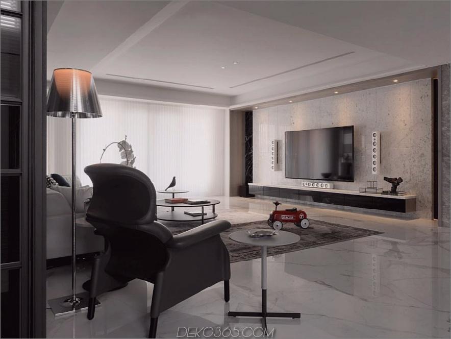 Die TV-Wand wirkt wie eine separate Ergänzung der Innenarchitektur