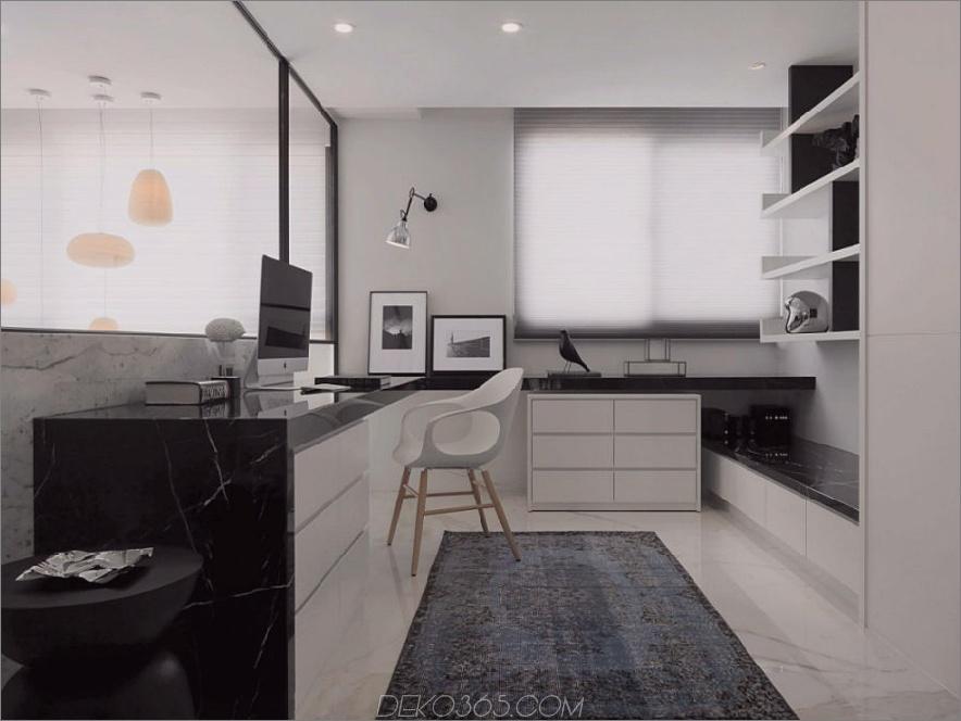 Stilvolles Home-Office mit schwarzen Marmortischplatten
