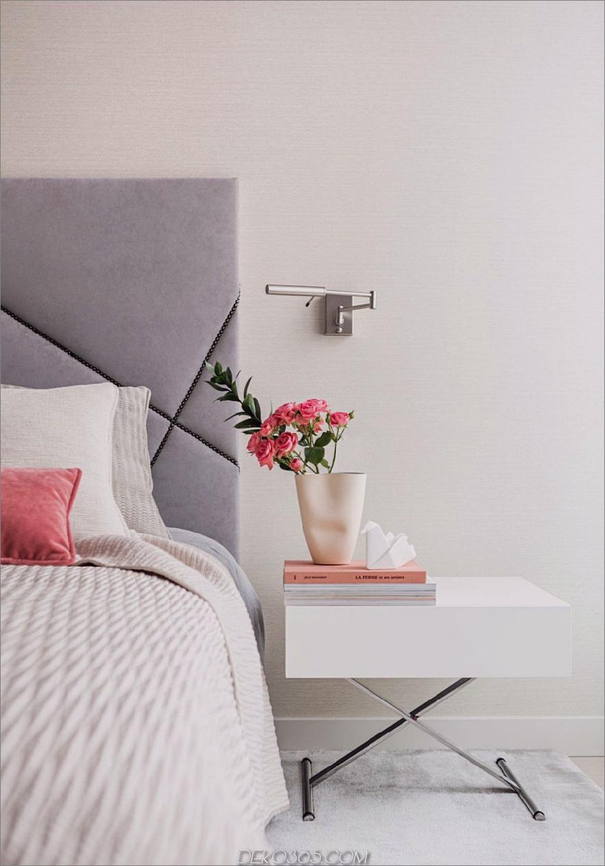 Das weiche Kopfteil sorgt für ein raffiniertes Aussehen im Schlafzimmer