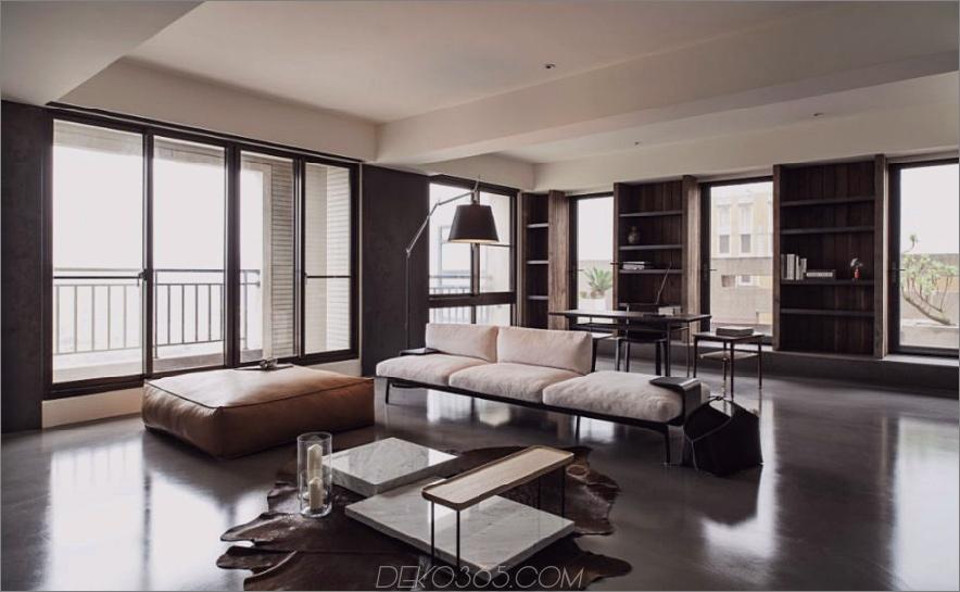 Das Wohnzimmer ist geräumig und hell. 900x554 Dieses stilvolle Betonhaus in Taipei ist raffinierte Einfachheit