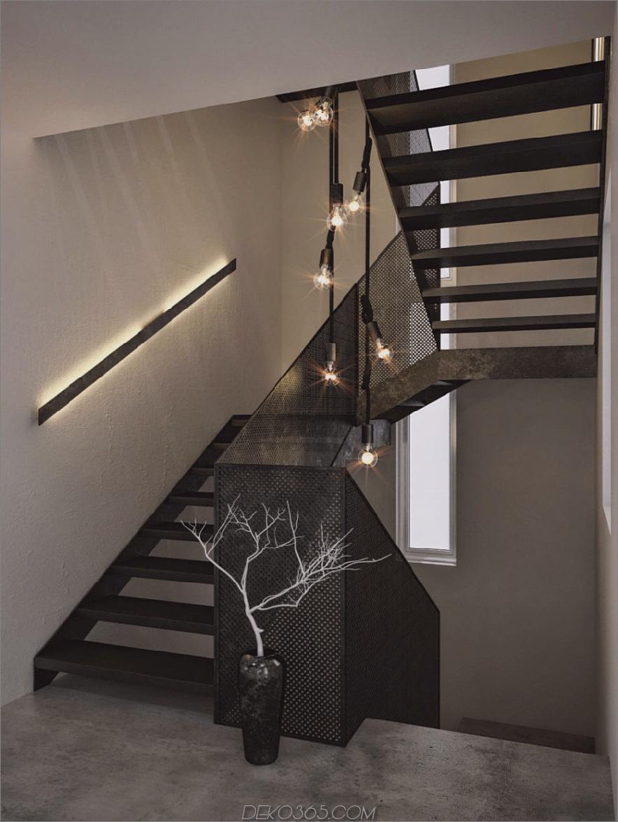 Perforierte Treppe verbindet Geschosse