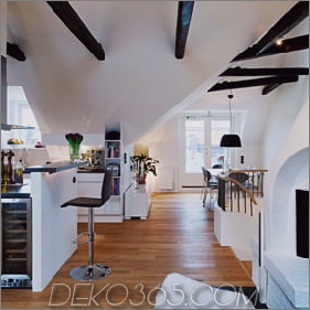 Gemütliche Loft-Designidee: Interessante architektonische und dekorative Details