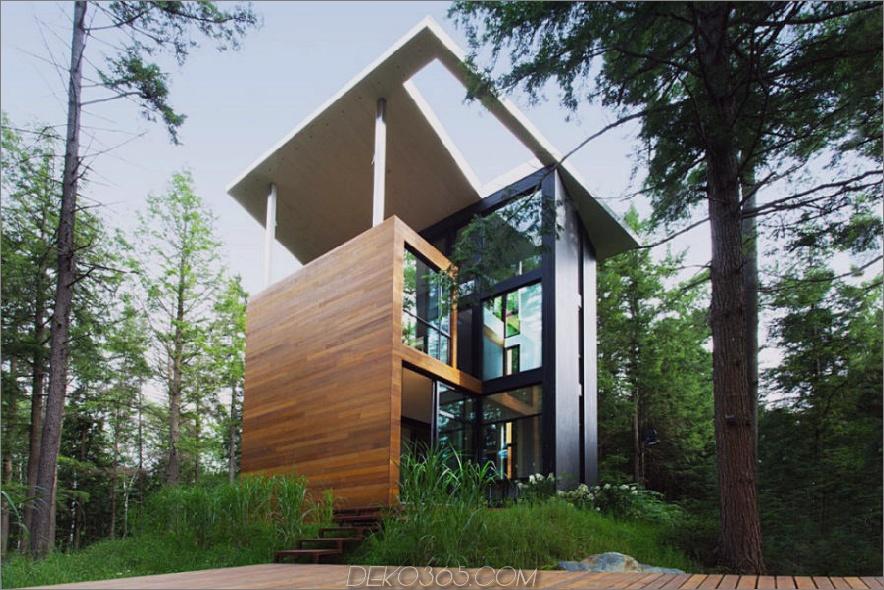 Moderne Architektur schreibt Holz- und Metallverkleidungen und große Fenster vor 900x600 Ein modernistisches Haus in Quebec sieht aus wie ein Turm
