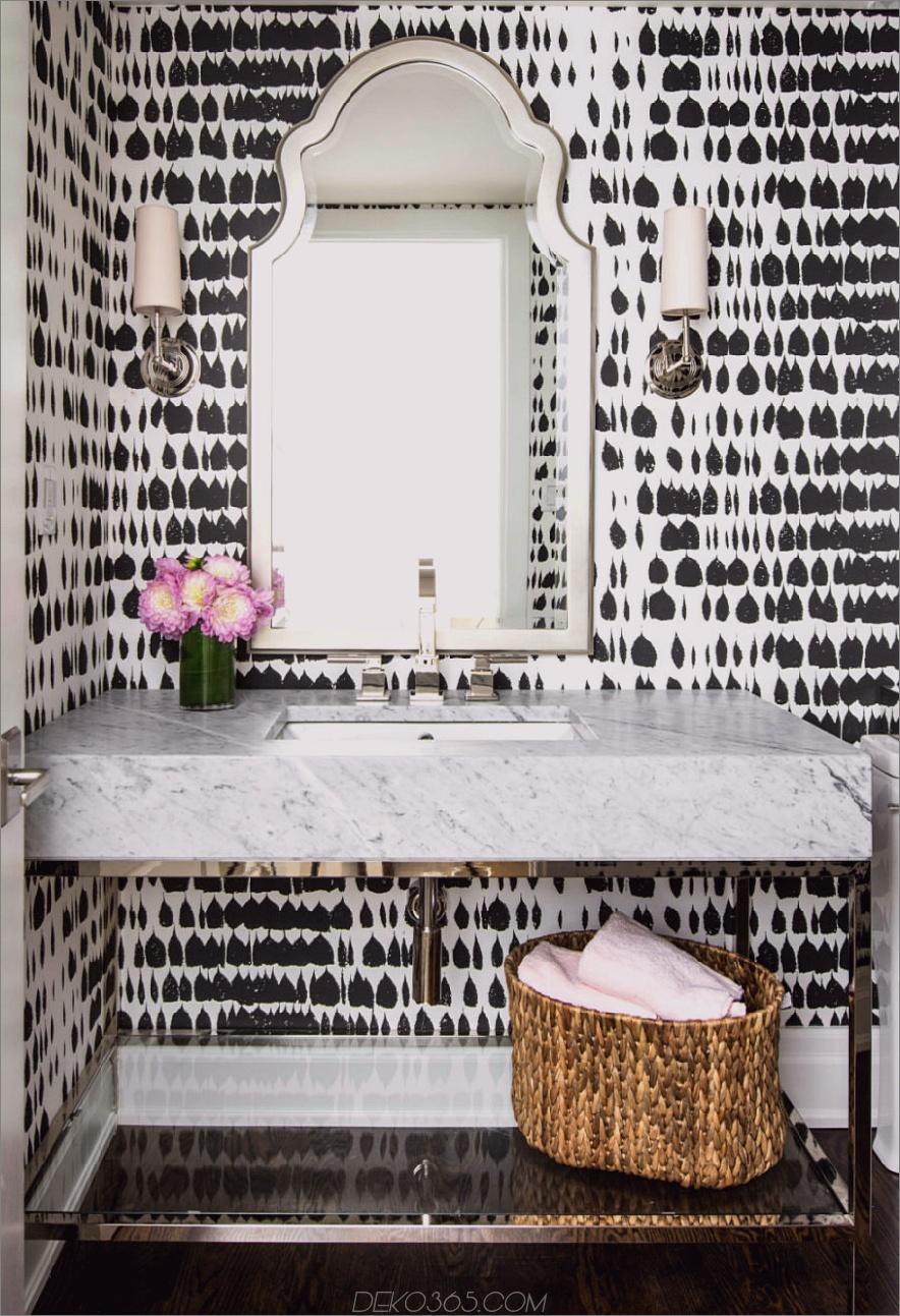 Schwarz-Weiß gemusterte Tapete 900x1317 Einzigartige Puder-Räume für Ihre nächste Umgestaltung