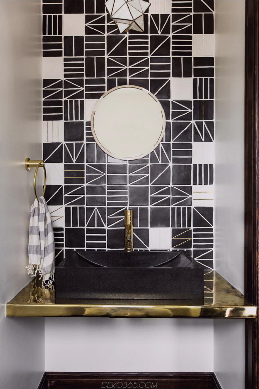 Geometrische Fliesen in einem Puderraum 900x1350 Einzigartige Puder-Räume als Inspirations für Ihren nächsten Umbau
