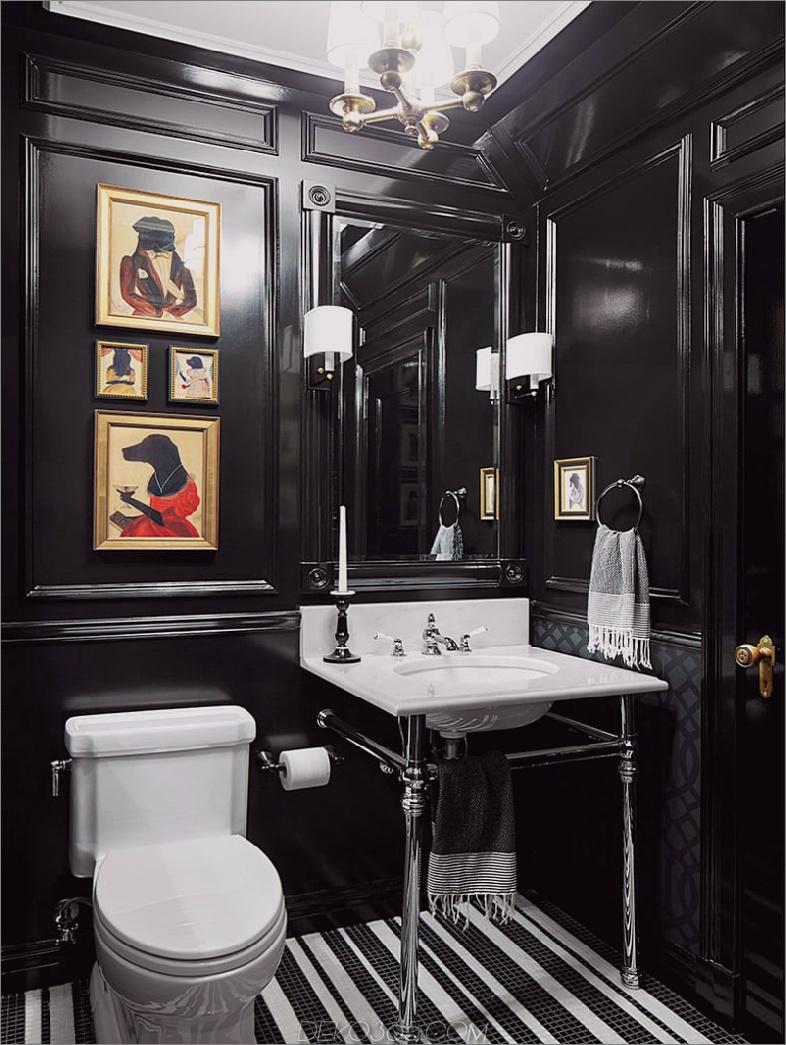 Puderraum mit schwarz geformten Wänden