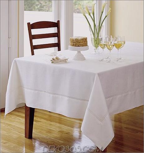 Leinen-Tischdecken mit Hohlsaum weiß Feine Tischwäsche für Sommer-Tischwäsche aus Leinen von Designer Lillian Pikus