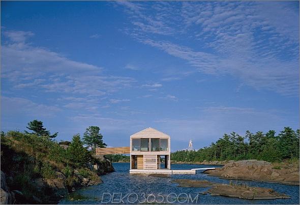 Huron House 2 Floating Cottage Prefab am Lake Huron, Kanada, steigt und fällt mit den Gezeiten