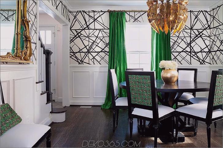 grünes Esszimmer Gemütliche Einrichtung mit Herbstfarben