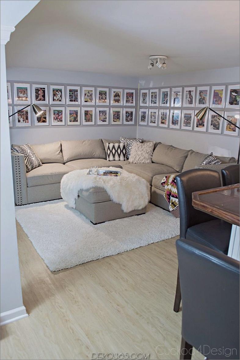 L geformtes Sofa und Wandkunst herum