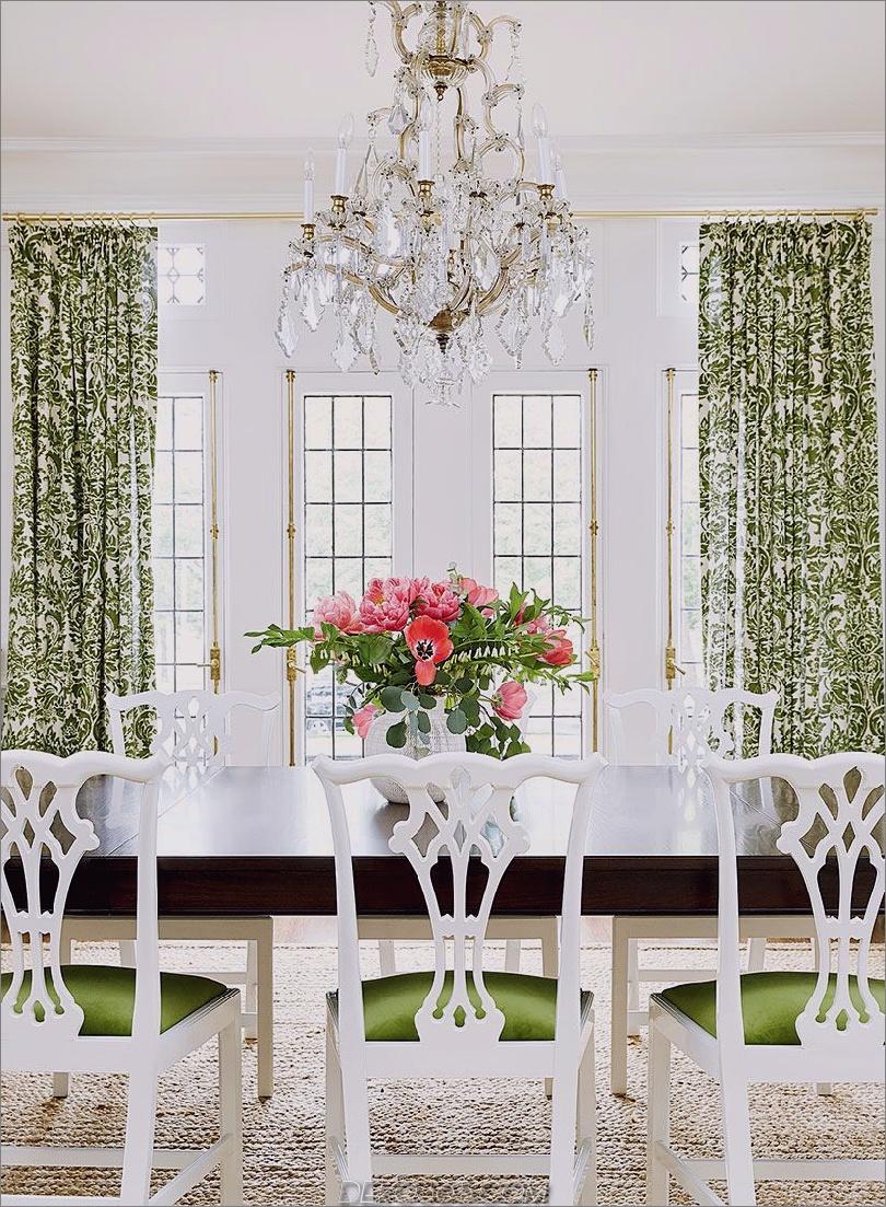 Blumenvorhänge im Speisesaal Bright White Dining Rooms