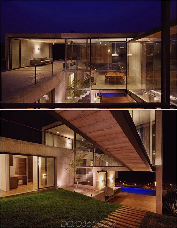 Haus im Freien mit Glaswänden im Innenhof und Innenräumen aus Beton thumb 630x808 29717 Hillside House mit 2 Betonvolumen, 2. Eingang, Brücke